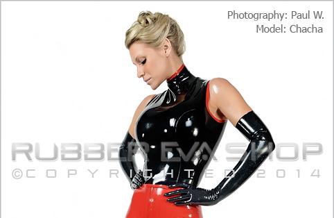 Black Shoulder Length Rubber Gloves